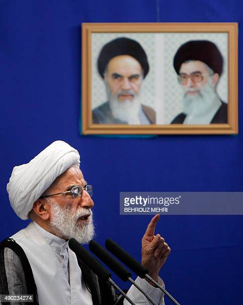 File picture dated July 31 2009 shows leading Iranian cleric Ahmad Jannati delivering the weekly Friday prayers sermon at Tehran university The...