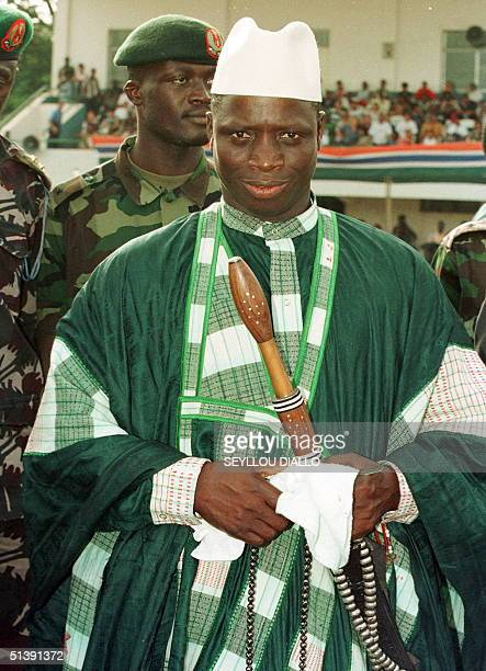 File picture dated June 1999 shows Gambia's President Yahya Jammeh waving and smiling during a meeting in Banjul, Gambia. President Yahya Jammeh won...