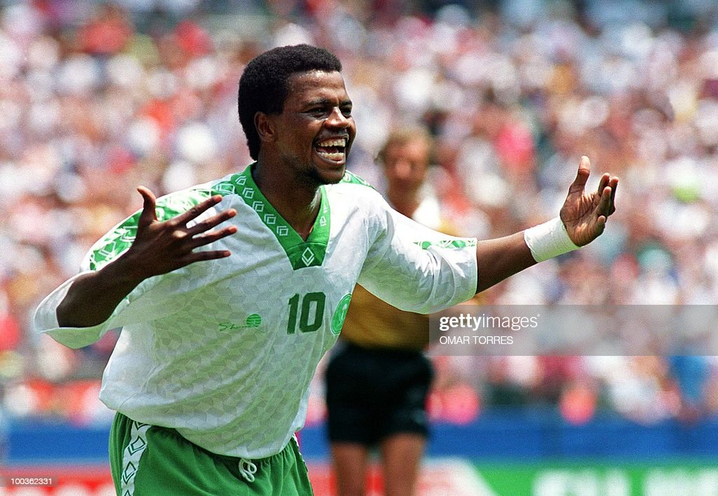 -- File picture dated June 29, 1994 shows Saeed Owairan of Saudi Arabia celebrating after scoring a goal in the first period of their World Cup match against Belgium at RFK Stadium in Washington DC.