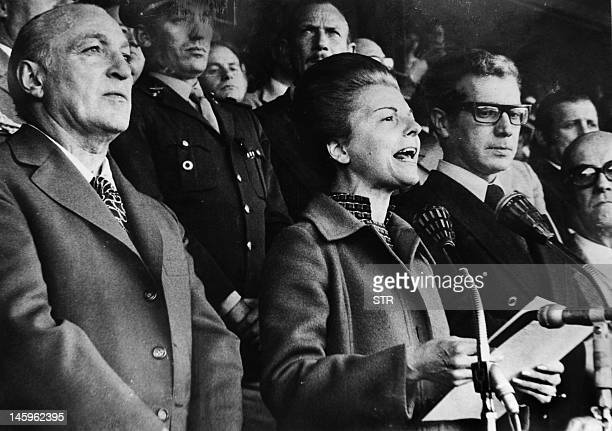File picture of 1975 of Argentne President Maria Estela Martinez de Peron known as Isabel next to her Social Welfare minister Jose Lopez Rega during...