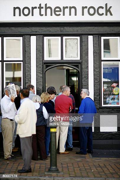 File picture of customers queue to enter a Northern Rock bank branch in Bromley in southeast London on September 14 2007 Thousands of people could...