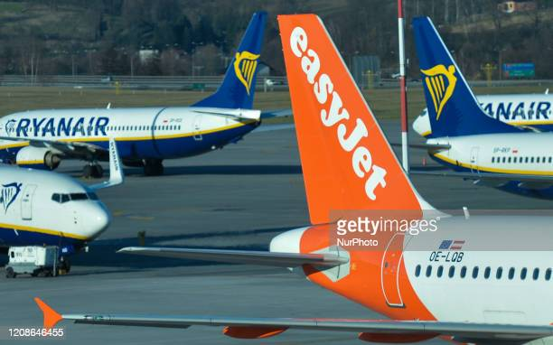 A file picture of EasyJet plane taking part in the rescue flight operation seen at the John Paul II KrakowBalice International Airport on March 15...