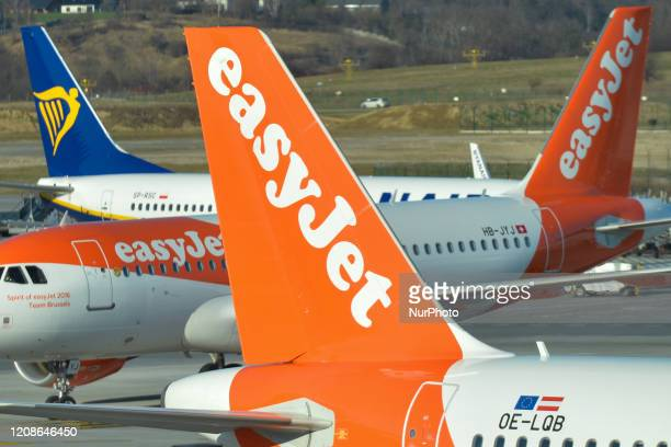 A file picture of EasyJet planes taking part in the rescue flight operation seen at the John Paul II KrakowBalice International Airport on March 15...