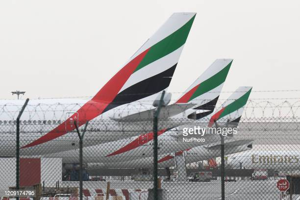 A file picture of Emirates planes grounded at Dubai International Airport on February 28 2019 Emirates Airline has been grounded since March 25 2020...
