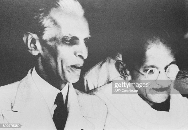 File picture of Founder of Pakistan Mohammad Ali Jinnah with the father of Indian nation Mohandas Karamchand Gandhi after their talks in Delhi in...