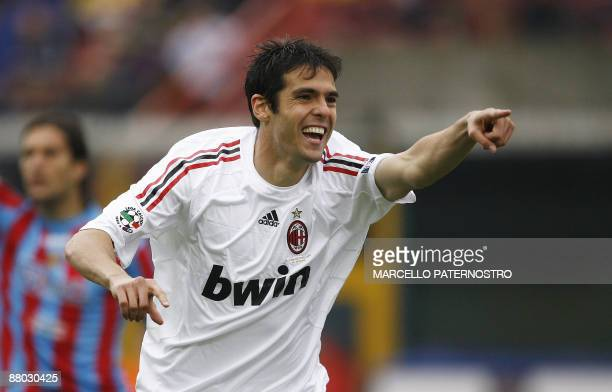File picture of Milan's forward Ricardo Kaka of Brazil jubilating after he scored against Catania during their Serie A football match at Massimino...