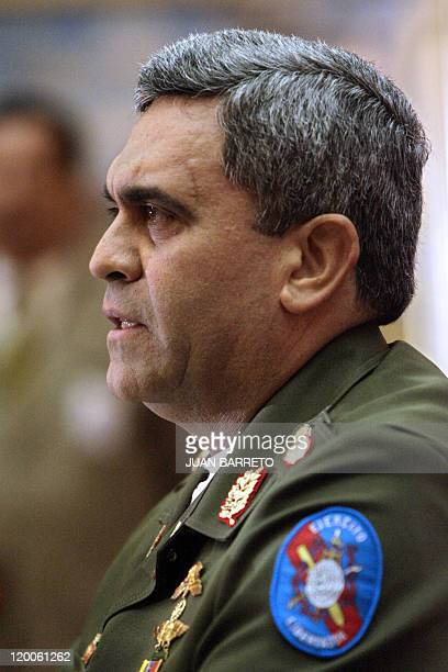 File picture of Venezuela's Defense minister General Raul Baduel as he offers a press conference in Caracas on January 29th 2007 General Raul Isaias...