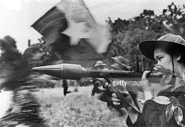 File picture shows a female Vietcong soldier in action with an antitank gun during a fighting in southern Cuu Long delta in the frame of the Tet...