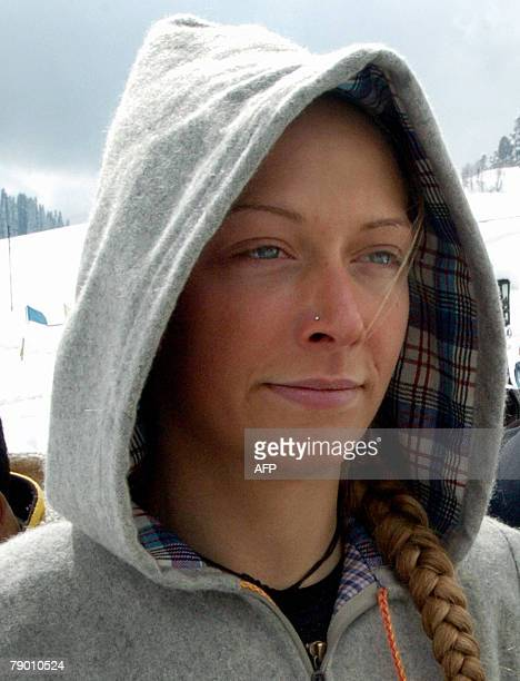 File picture taken 01 March 2007 shows Norwegian skier Franciska Rogne 26 after she and two other skiers were rescued by the army from Gulmarg...