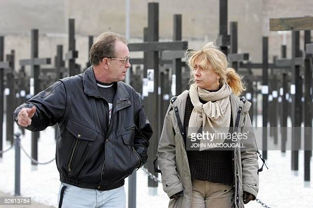 A file picture taken 07 November 2004 shows the director of the Checkpoint Charlie Museum Alexandra Hildebrandt in front of a memorial commemorating...