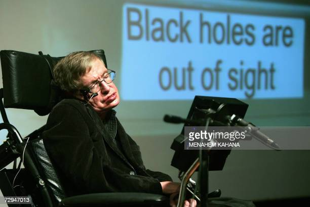 File picture taken 10 December 2006 shows World famous British scientist Stephen Hawking giving a lecture at the Bloomfield Museum of Science in...