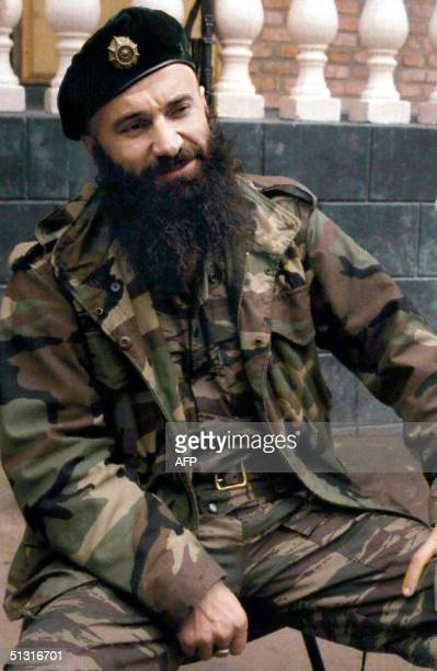 A file picture taken 18 October 1999 shows Chechen warlord Shamil Basayev who claimed responsibility for the deadly school hostage taking in the...