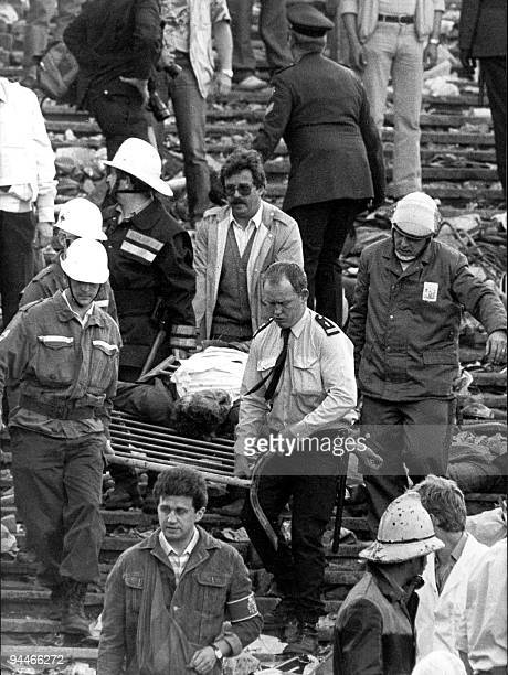 A file picture taken 29 May 1985 in Brusselsshows the afternath of the riots at the Heysel football stadium during the European Cup final between...