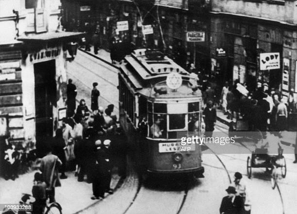 File picture taken in the 40's of a tramway going around a street of the Warsaw Jewish ghetto, displaying a star of David. In October 1940, the Nazis...