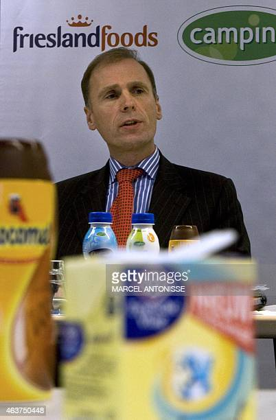 A file picture taken on December 18 2008 shows leader of a Dutch dairy company Cees't Hart during a meeting in Amersfoort Danish brewer Carlsberg...