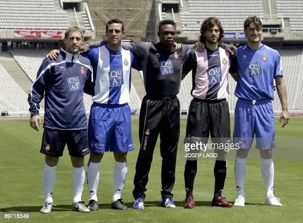 File picture taken on July 07 2006 showing Espanyol's captain Daniel Jarque posing with a teammates Argentinian Pablo Zabaleta Spanish Moises Hurtado...