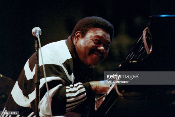 A file picture taken on July 8 1992 shows US pianist and singersongwriter Fats Domino performing on the piano during a concert at the concert hall in...