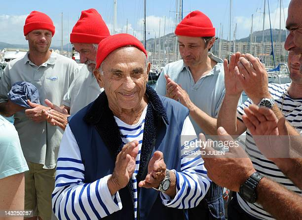 A file picture taken on June 11 2010 shows Albert Falco former captain of the Calypso the mythical boat that belonged to commander JacquesYves...