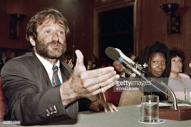 File picture taken on May 9, 1990 in Washington, shows US actor Robin Williams speaking at a Senate committee hearing on the Homelessness Prevention...