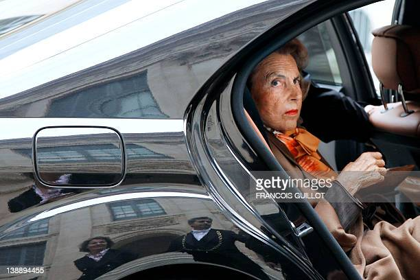 A file picture taken on October 12 2011 shows French Billionaire L'Oreal heiress Liliane Bettencourt arriving by car at the Institut de France in...