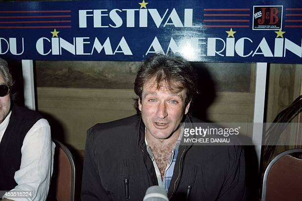 A file picture taken on September 4 1988 in Deauville northwestern France shows US actor Robin Williams speaking during a press conference to present...