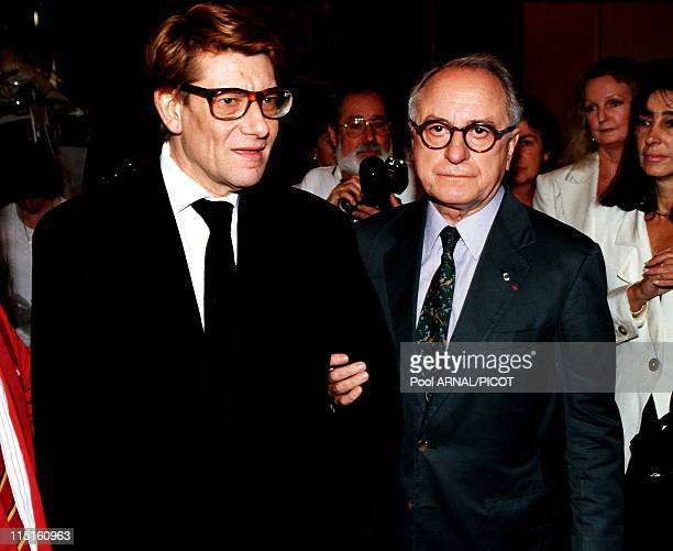 File pictures of Yves Saint Laurent in France in 1989 Yves Saint Laurent and Pierre Berge 1992
