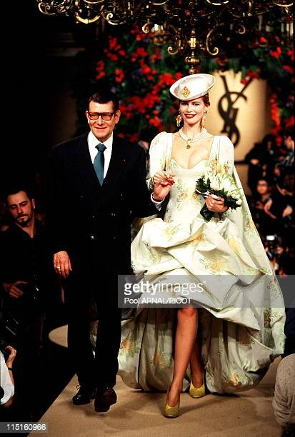 File pictures of Yves Saint Laurent in France in 1989 Yves saint Laurent and Cleudia Schiffer 1997