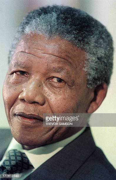 A file portrait taken on February 8 1991 shows Nelson Mandela South African antiapartheid leader and African National Congress member during a press...