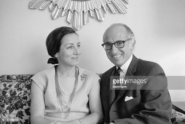 Filed 6/18/1970New York NY Dr Jonas E Salk developer of the polio vaccine is shown with his prospective bride French artist Francoise Gilot in this...