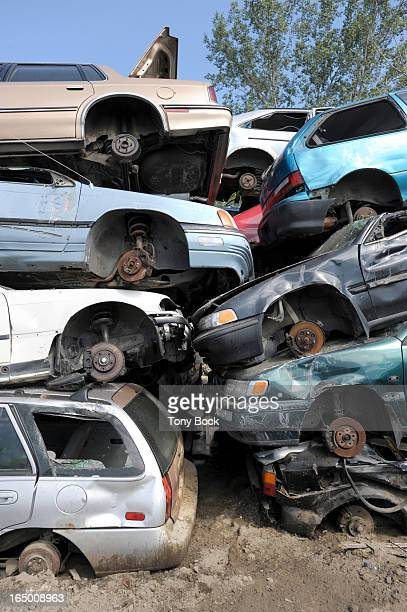 AUG19 2009 Filers of scrapped cars at Hollywood North Auto Parts and Recycling on Eastern Ave