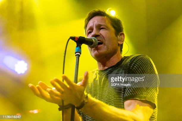 Files actor David Duchovny sings on stage in Dublin's Academy music venue.
