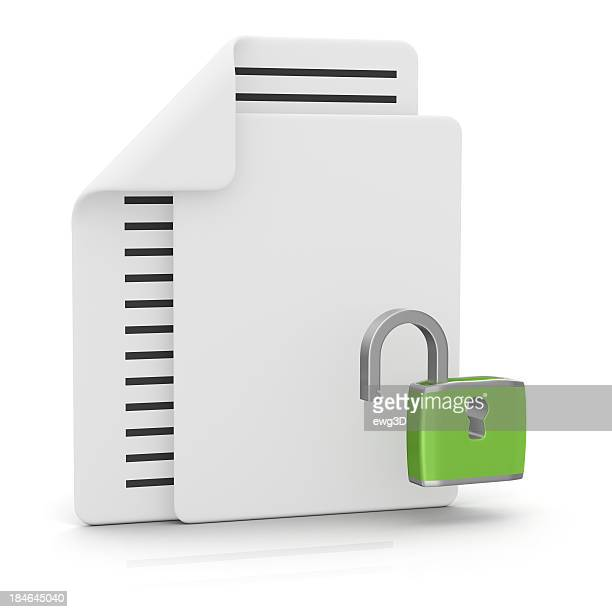 Files and Padlock Open