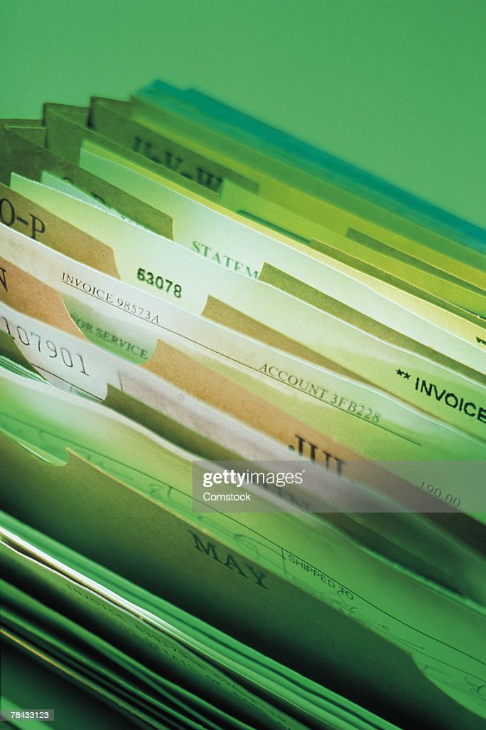 Files in accordion file : Stockfoto