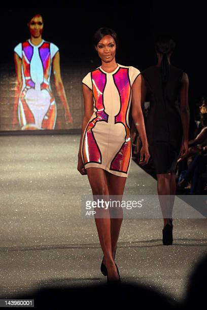 A files picture taken on March 8 2012 shows a model displaying clothes from The Collection of La Quan Smith at The Arise Magazine Fashion Week at...