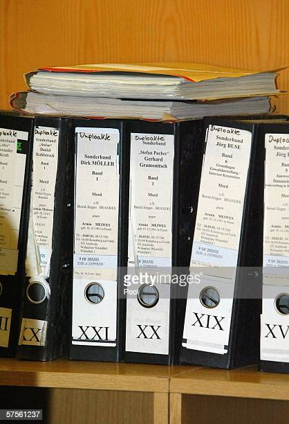 Files stand on a shelf in the courtroom during the retrial of selfconfessed cannibal Armin Meiwes on 09 May 2006 at court in Frankfurt/Main Germany...