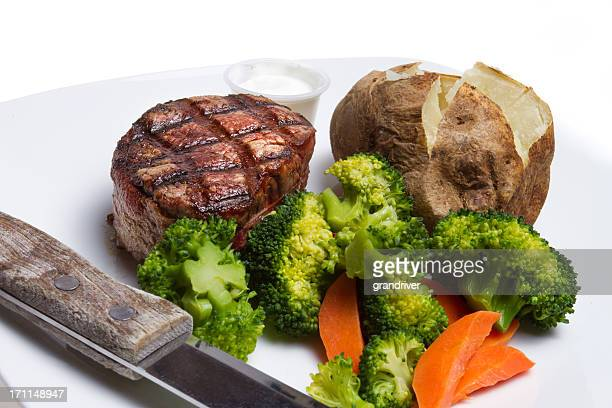 Filet Mignon, Broccoli and Baked Potato