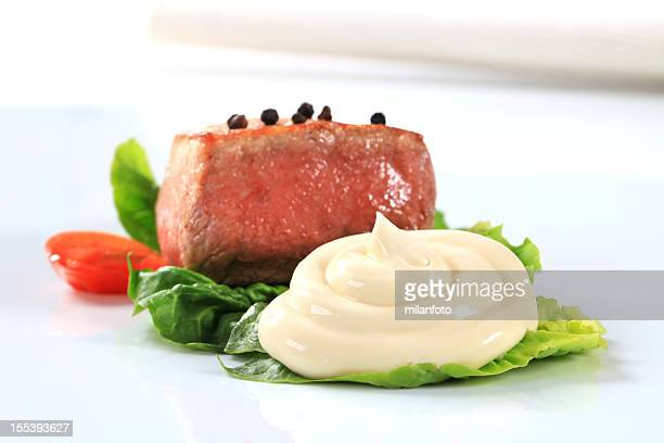 filet mignon with leaf vegetables - mayonnaise stock pictures, royalty-free photos & images