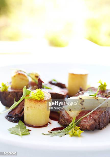 Filet mignon with potato fondant in port reduction