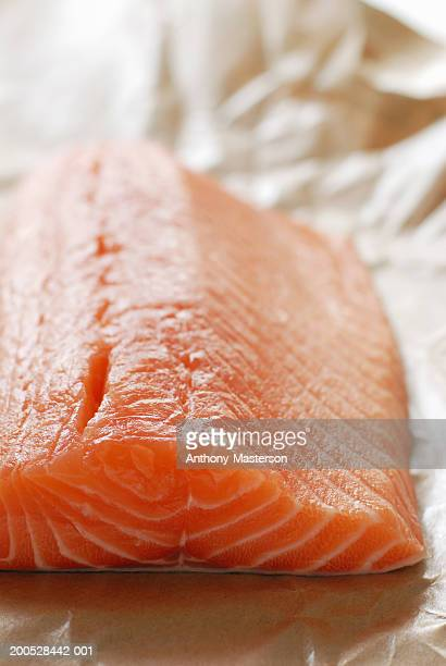 filet of salmon on butcher paper - anthony-masterson stock pictures, royalty-free photos & images