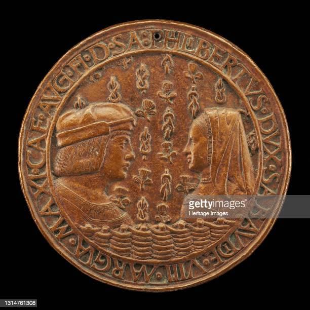 Filiberto II le Beau , 1480-1504, 8th Duke of Savoy 1497, and Margaret of Austria, 1480-1530, His Wife [obverse], 1502. Artist Jean Marende.