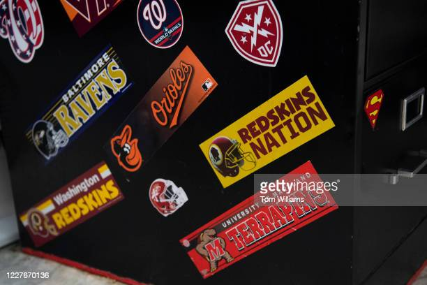 A filing cabinet adorned with Washington area team stickers including the Redskins appears in Rayburn Building on Friday July 17 2020