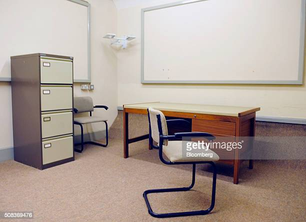 A filing cabinet stands inside an office of a former regional government nuclear bunker in Ballymena UK on Thursday Feb 4 2016 The property that was...