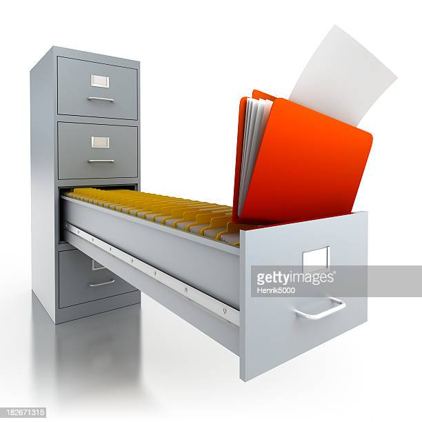 Filing cabinet with folders in deep drawer - isolated/clipping path
