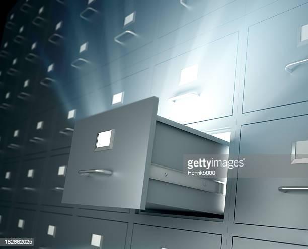 Akten Schränke, eine Schublade öffnen Ausstoßen light