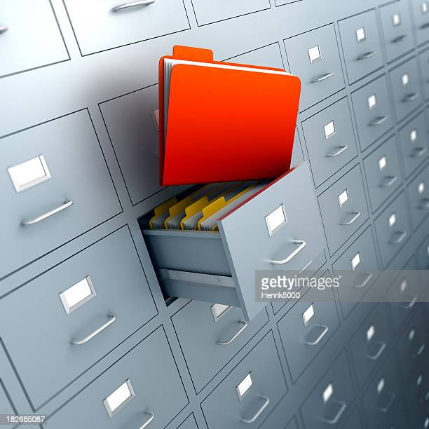 Filing cabinets with folders in drawer - isolated/clipping path