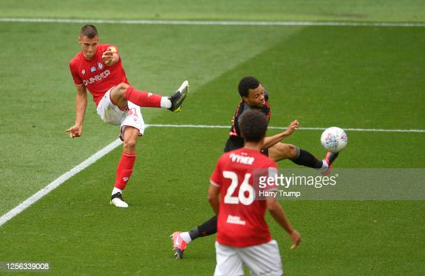 Filip Benkovic of Bristol City scores his sides first goal during the Sky Bet Championship match between Bristol City and Stoke City at Ashton Gate...