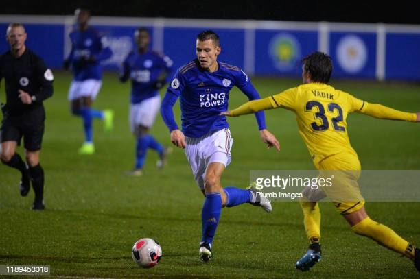 Filip Benkovic of Leicester City with Vadik Murria Soriano of Villarreal during the Leicester City U23 v Villarreal B PL International Cup at Holmes...