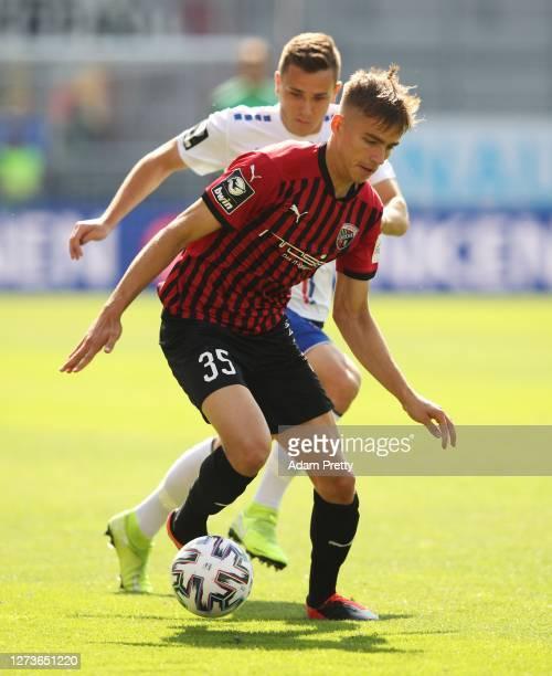 Filip Bilbija of FC Ingolstadt 04 controls the ball during the 3. Liga match between FC Ingolstadt and KFC Uerdingen at Audi Sportpark on September...