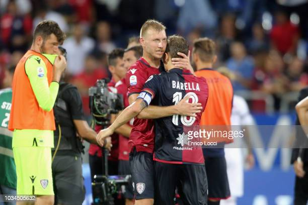 Filip Bradaric and Nicolò Barella of Cagliari at the end of match during the serie A match between Cagliari and AC Milan at Sardegna Arena on...