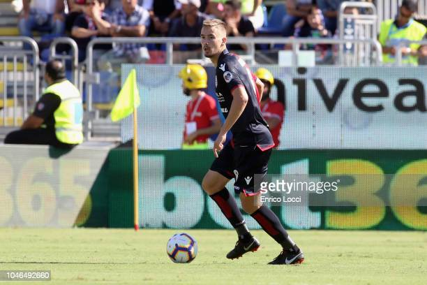 Filip Bradaric of Cagliari in action during the Serie A match between Cagliari and Bologna FC at Sardegna Arena on October 6 2018 in Cagliari Italy